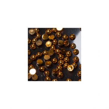 Rhinestones Round Gold Small 100 pcs